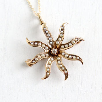 Antique 10k Rose Gold Diamond Pearl Edwardian Necklace- Starburst Flower Pendant Fine Jewelry