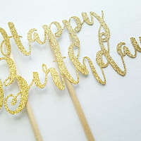 Happy Birthday Cake Topper, Gold glitter cake decor, first second birthday party, cupcakes, party favors, baby boy girl, dessert table