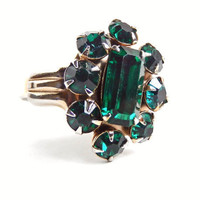 Green Rhinestone Ring  Vintage Adjustable Gold by MaejeanVINTAGE