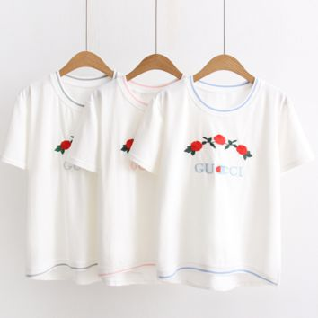 GUCCI Fashion floral embroidery  tee shirt top