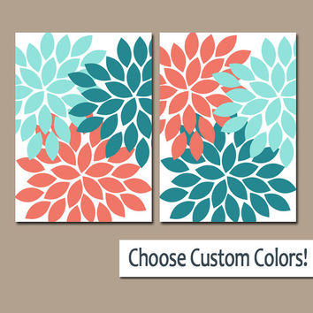 Coral Aqua Turquoise WALL Art Canvas or Prints Bathroom Artwork Bedroom Pictures Nursery Decor Floral Dahlia Flower Burst Petal Set of 2