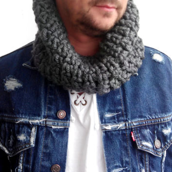 GRAY SCARF MENS Hand Crochet Scarf Soft Infinity Mens Braided Cable Boho Cowl Loop Crochet Slouchy Mens Scarf Slouch Beanie Hand Winter