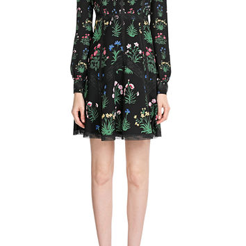 Valentino - Printed Dress with Lace