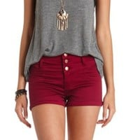 "Refuge ""Hi-Waist Shortie"" Colored Denim Shorts - Beet Red"