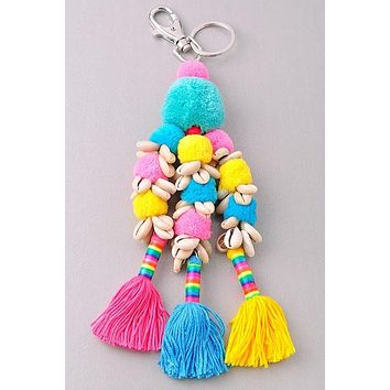 Pom Pom & Shells Tassel Key chain