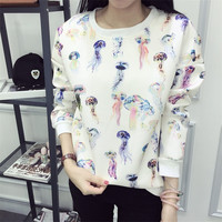 Jellyfish Printing Loose Hoodies Sweater Pullover Long Sleeve for Women Teen Girls Student