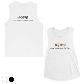 Husbae Wifebae Leopard Military Cute Matching Couple Muscle Shirts