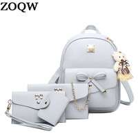 2017 New Women Backpack Small Size Fashion Backpacks for Teenage Girls  PU Leather Women's Backpacks with Purses 4 Sets WYQ123