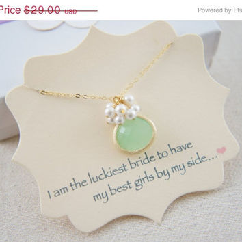 10% OFF Mint green glass with pearls necklace with a message card, wedding, bridesmaid, mother of bride