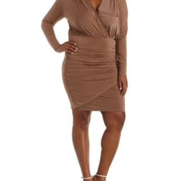 Plus Size Taupe Ruched Wrap Dress by Charlotte Russe