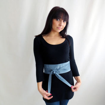 Periwinkle suede obi belt , light blue obi belt, vegan leather sash belt, light blue belt, faux leather belt, suede belt