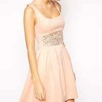 ASOS Scuba Debutante Dress With Embellished Waist