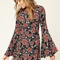 Floral Print Bell-Sleeved Dress