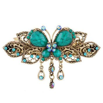 New 2016 Retro Vintage Crystal Diamond Butterfly Flower Hairpins Hair Clip Barrette Hair Accessories