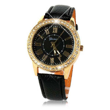 Bling Gold Crystal Watch Girls Women Luxury Leather Watches Quartz Casual Dress Wrist Watch Mujer Relogio Reloj Bracelet Hour CF