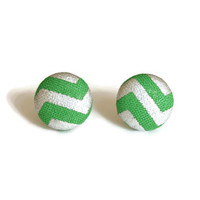 Green Earrings, Fabric Earring, Chevron Fabric, Stud Earrings, Sensitive Earrings, Fabric Earrings, Stud Earings, Fabric Earings, Studs