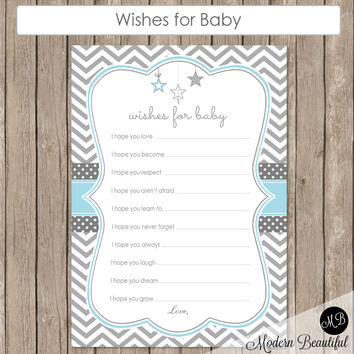 Wishes for Baby Star in Baby Blue -  Twinkle Twinkle Little Star Baby Shower - Baby Well Wishes with Stars - baby blue and gray INSTANT