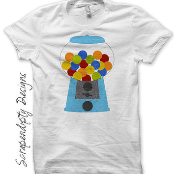 Gum ball Iron on Transfer - Iron on Candy Shirt PDF / Gumball Machine Party Favors / Kids Candy Birthday Outfit / Blue Gum Ball Tee IT363-C