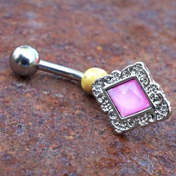 Pink Illuminating Stone Diamond Shaped Belly Button Navel Ring Piercing