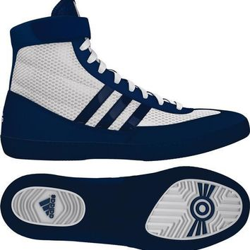 ADIDAS COMBAT SPEED 4 WRESTLING SHOES - WHITE/BLUE
