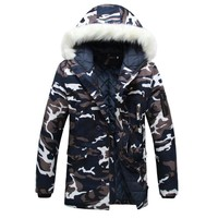 Fashion Womens Camouflage Down Parkas Women's hooded Jacket Coat Military Bomber Jacket Fur collar Winter Jacket Outwear Female