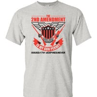 2nd Amendment,  professional screen printed t shirt.  This is an ash colored t shirt with black and red print.