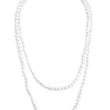 Stunning Glass Bead Necklace, Ab White