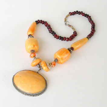 Vintage Tibetan Necklace Chunky Pendant Golden Honey Amber Red Silver