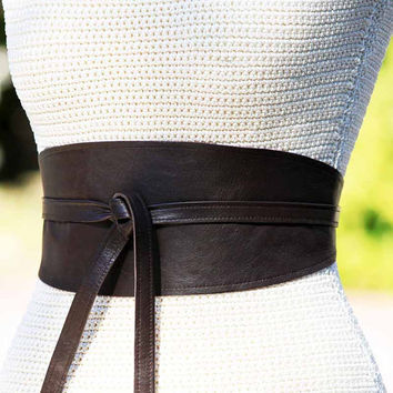 REVERSIBLE Leather belt obi wrap sash corset - Dark Chocolate Brown lambskin - size XS S M L - wide cinch belt