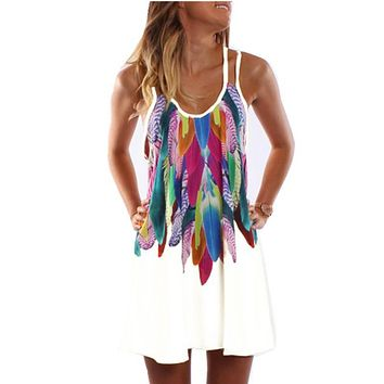 Women Fashion  Boho Style Sexy Printed Plus Size Women Clothing Casual Summer Beach Femme Robe Vestidos Dress WS804Y
