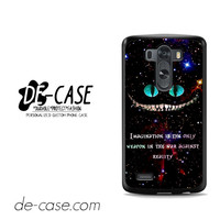 Alice In Wonderland Cheshire Cat Quote For LG G3 Case Phone Case Gift Present
