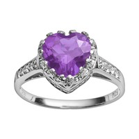 Sterling Silver Amethyst & Lab-Created White Sapphire Heart Crown Ring (Purple)