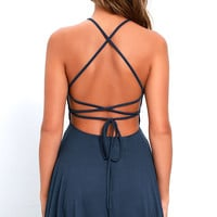 Tied Together Denim Blue Lace-Up Dress