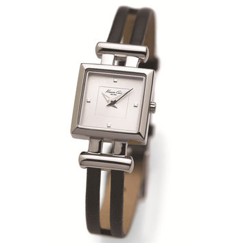Kenneth Cole KC2650 Womens New York Silver Dial Black Leather Strap Watch