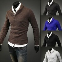 Jeansian Men V-Neck Knitwear Sweater Shirts Tops Stylish 5 Colors 4 Sizes  8825