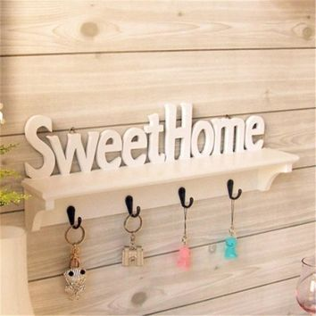 1 Set Sweet Home Storage Holder With 4 Hooks