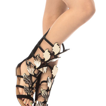 Black Faux Nubuck Wild Wings Gladiator Sandals