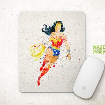 Wonder Woman Mouse Pad, Justice League Watercolor Art, Mousepad, Home Deco, Gift, Art Print, Desk Art, Superhero Accessories
