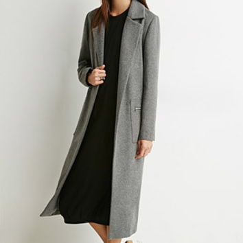 Zip-Pocket Wool-Blend Trench Coat