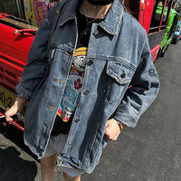 Women Denim Jacket Vintage Harajuku Oversize Loose Female Jeans Coat Solid HU