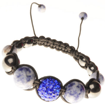 Shamballa Bracelet lapis lazuli natural minerals boho style bracelet on his hand fenugreek amulet jewelry with rhinestones