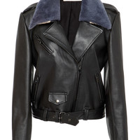 Classic Moto Leather Jacket with Collar | Moda Operandi