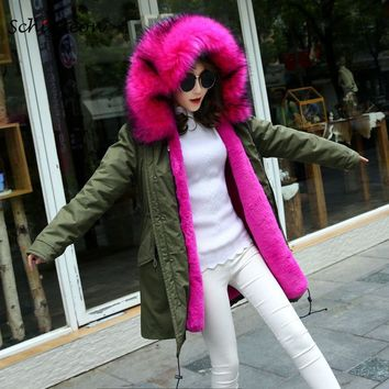 Schinteon Fur Winter Long Jacket Warm Outwear Faux Big Raccoon Fur Collar Removable Artifical Inside Rabbit Fur Lining Women