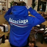 Balenciaga Women Sport Casual Fashion Letter Print Loose Long Sleeve Hooded Sweater Tops H-AGG-CZDL