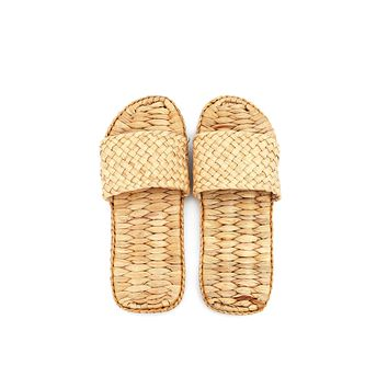 Natural Handmade - Open-Toe Scuff Slippers for Men and Ladies - Hand Woven Water Hyacinth - Crochet Style