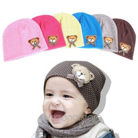 Cute Baby Kids Bear Polka Dots knit Beanie Hat Cap = 1957990660
