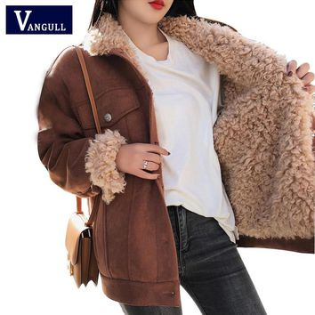 Winter Jacket Thick Fur Wool liner Coats Women Parkas Fashion Faux Fur Lined Suede Bomber Jackets Warm Outwear 2018 New VANGULL
