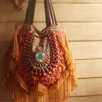 Hippie Fringe purse bag // tribal // ethnic // embroidery bag // gold // gypsy // boho // slouchy // textile // handbag