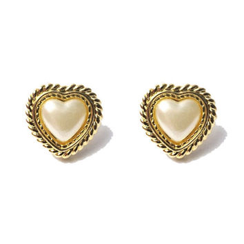 Vintage 1990s Upcycled  White Pearl Heart Earrings with Gold Trim