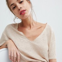 Pull&bear frayed edge v neck t-shirt in beige at asos.com